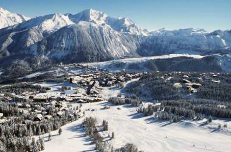 Aerial view of Courchevel 1850.