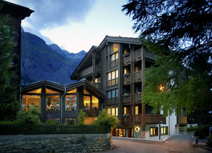 Exterior of Europe Hotel & Spa at Zermatt.