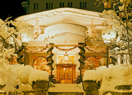 Entrance of Kulm Hotel at St Moritz.