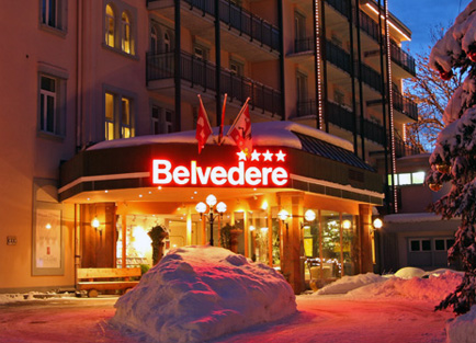 Night view of front entrance to Hotel Belvedere at Grindelwald.