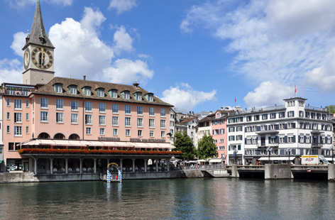 The Hotel Zum Storchen fronts the Limmat River in Zurich.