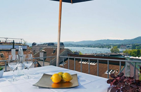 Rooftop view of Lake Zurich from Hotel Rossli.