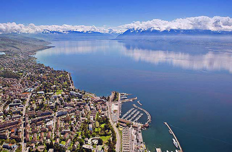 Lausanne and Lake Geneva.