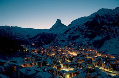 Matterhorn behind Zermatt.