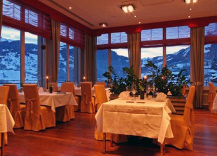 Restaurant in Hotel Belvedere at Grindelwald.