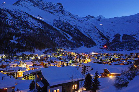Village of Saas Fee at night.