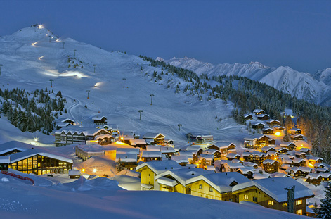 Slope and chalets at Verbier.