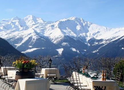 Terrace at Le Chalet D'Adrien at Verbier.