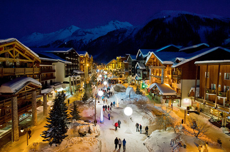 Village of Val d'Isere at night.