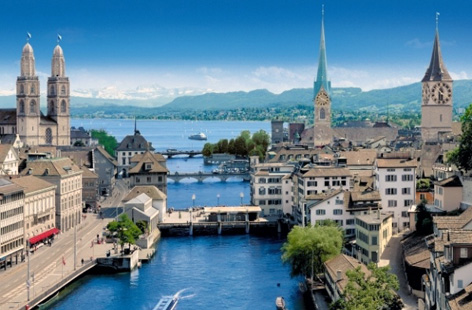 The Limmat River, Zurich and Lake Zurich.