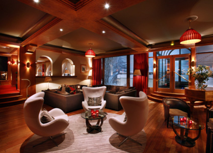 Lounge in Hotel Christiania in Val d'Isere.